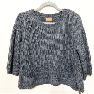 POL Chunky Knit Pullover Sweater Cropped Gray S